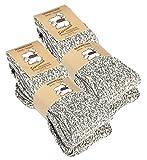 VCA 4 Paar superweiche Norwegersocken (Wollsocken), Stricksocken. Für Damen und Herren. Premium Qualität. Farbe: Grau meliert