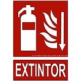 CIEFU-Cartel de Extintor con flecha Señalizacion fotoluminiscente(295×210mm)