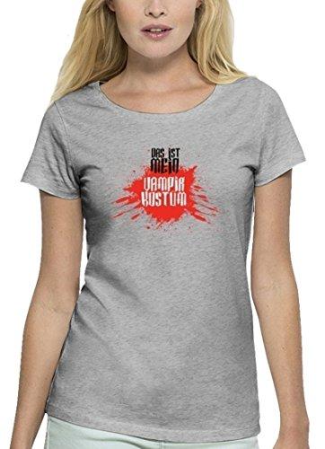 Fasching Karneval Premium Damen T-Shirt Bio Baumwolle Das ist mein Vampir Kostüm 2 Heather Grey