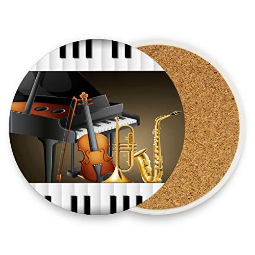 Instrument for Symphony Orchestra Runde saugfähige Keramik Stein Getränkeuntersetzer Kaffeetassen Matten Sets für Home Office Bar Küche (Set von 1 Stück), keramik, multi, 2er-Set (Steine Der Symphonie)