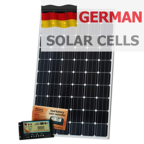 320 W 12 V Photonic Universe batería doble solar kit de carga (panel solar, cable de 5 m, controlador solar de batería de 20 A) El panel solar de 320 W y 12 V de este kit está hecho de células solares alemanas monocristalinas de alta eficiencia que t...