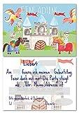 Lasse und Lucie 12 Einladungskarten für den Kindergeburtstag Ritter / handgemaltes Design / im Format DIN A6 / zum Ausfüllen