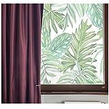 VANCORE Illuminative statico no-glue decorative privacy Glass Window film sticker anti-UV 45cmx200cm, spessore naturale foglie modello per cucina casa ufficio, PVC, Parlor Palm, 45cm*200cm