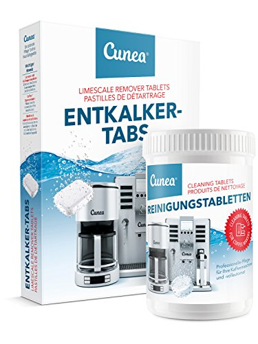 Cunea Reinigungset 20x Entkalkungstabletten & 150x Reinigungstabletten für Kaffeevollautomaten Kaffeemaschinen
