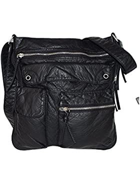 Jennifer Jones modische Tasche Damentasche Schultertasche Clutch Beuteltasche Shoppe Bag schwarz