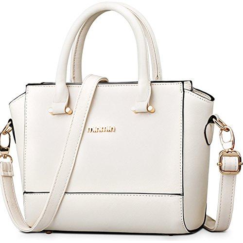 fanhappygo Fashion Retro Leder Damen Freizeit Aktentasche Schulterbeutel Umhängetaschen Abendtaschen weiß