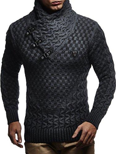 Leif Nelson Herren Strick-Pullover Strick-Pulli mit Schalkragen Moderner Woll-Pullover Langarm-Sweatshirt Slim Fit mit Schnallen