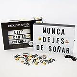 Caja de Luz LED A4 con 105 Letras, 50 Divertidos Emojis y Cable USB | Letra Ñ Incluida | Cartel...