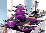 Koch-Topf-Set 17-teilig aus Aluguss mit Antihaftbeschichtung Sets Kochgeschirrset mit Deckel, Kunststoff-Griffe (Farbe: lila)