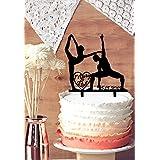 Personalizable nombre y fecha y elegante decoración para tarta para gimnasia, novia y novio decoración para tarta para silhouetter para especial