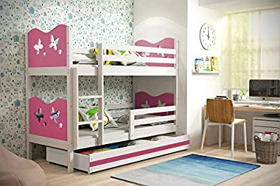Bunk Bed MAX new model! With free mattresses & storage FREE DELIVERY! White produced by Interbeds - quick delivery from UK.