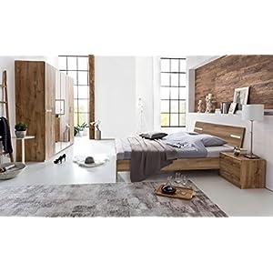 lifestyle4living Schlafzimmer, Schlafzimmermöbel, Set komplett, Komplettset, Schlafzimmereinrichtung, Komplettangebot, Einrichtung, Plankeneiche-Nachbildung, Chrom