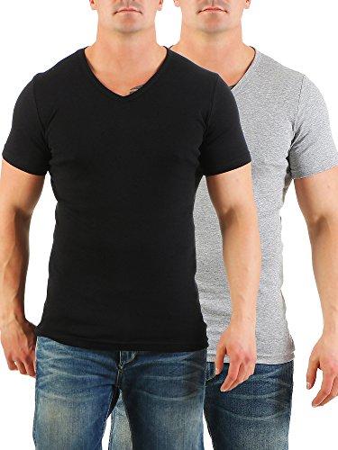 2er Pack Herren T-Shirt mit V-Ausschnitt Nr. 446/1500 Schwarz-Grau