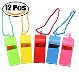 Funpa 12PCS Plastikpfeifen Geräusche Die bunte Kinderpfeifen Spielzeug mit Abzugsleinen für Partei Sport Machen