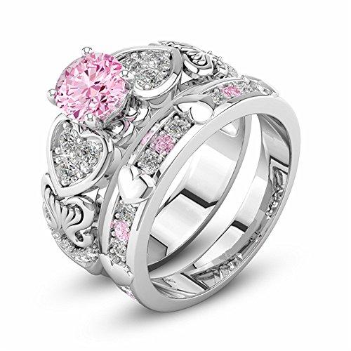 Quadrat Diamant Pulver Kristall Zirkon Ring herzförmigen rosa Edelstein mit Diamant Ring YunYoud damenringe günstige silberringe verlobungsring siegelring freundschaftsringe