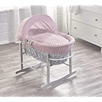 Pink Dimple Grey Wicker Padded Moses Basket & Grey Rocking Stand