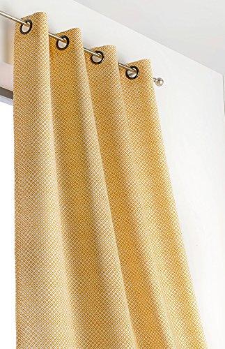 Linder 1570/39/47030/377fr-tenda motivi geometrici, colore: giallo, in poliestere e lino, 140 x 240 cm