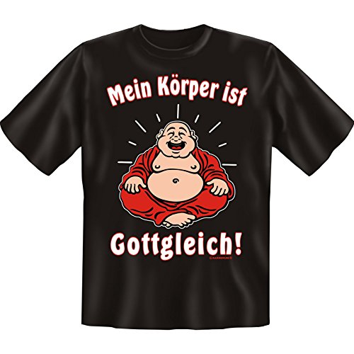 Witziges Fun-shirt - Tshirt als Geschenk mit Minishirt - Schwarz - Mein Körper ist Gottgleich Schwarz