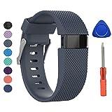 Bracelet de rechange pour Fitbit Charge HR en silicone souple M gris