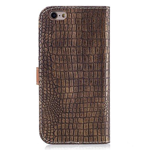 """Pour iPhone 6 / iPhone 6S (4.7"""") Housse Coque Solide Couleur PU Cuir Pochette Étui à rabat Crocodile Texture Portefeuille Case - café Or"""