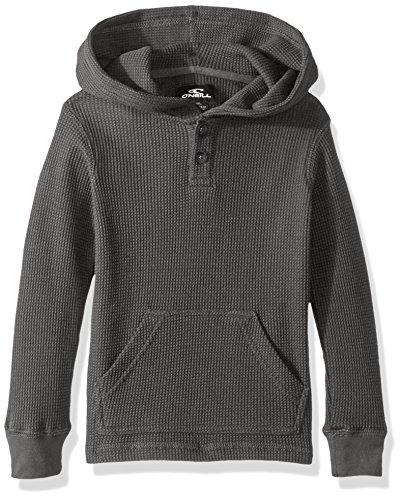 Hooded Long Sleeve Henley (O'Neill Boys' Little Olympia Long Sleeve Hooded Henley Shirt, Heather Grey, M5/6)