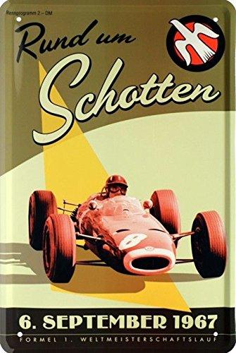 Unbekannt Blechschild 20x30 cm Formel 1 Plakat Rund um Schotten 1967 Rennwagen Rennstrecke Metall Schild -