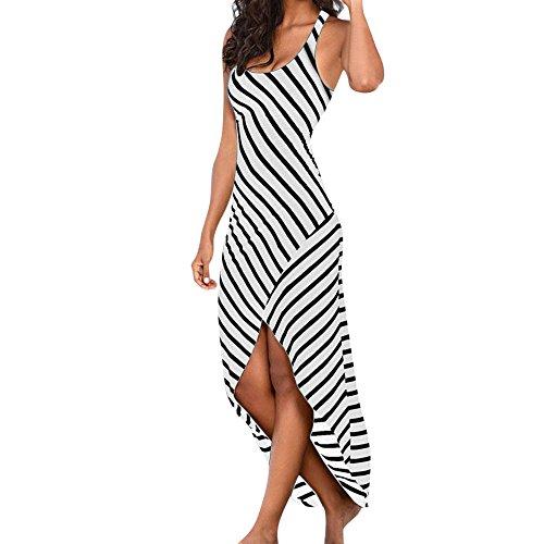 QUINTRA Damen Ärmelloses Beiläufiges Strandkleid Sommerkleid Sonnen Kleid Streifen Lose Long Kleider Unregelmässig Cocktailkleider Party Ballkleid (Weiß, XL)