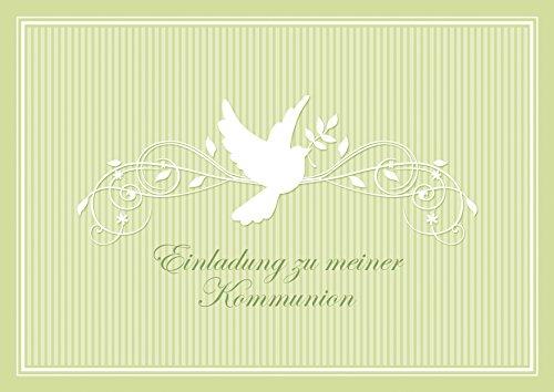 """Erhältlich im 1er 4er 8er Set: """"Einladung zu meiner Kommunion"""" schöne Einladungskarte zur Kommunion (Klappgrußkarte/ Grußkarte/ Kommunion Karte/ Firmung/ Feier) für ein Mädchen/ Junge in Grün mit einem Ornament und Taube (Mit Umschlag) (8)"""