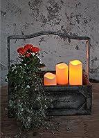 Romantische LED - Candele in pacco da 3 / Set da 3 - Misure 15 cm / 11,5 cm / 7,5 cm alt. - Candele con luce tremolante decorative e a risparmio energetico a LED - in colore ambra - per interno ed esterno - OUTDOOR - Nuovo