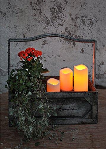 Kamaca LED Romantique – Lot de 3 Bougies – Dimensions 15 cm/11,5 cm/7,5 cm de haut – Technologie LED décorative et basse consommation avec minuteur – Bougie Flamme Vacillante – en ambre – pour l'intérieur et l'extérieur – Domaine – Extérieur