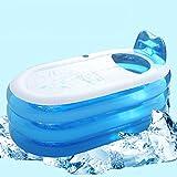 ERHANG Badewannenspritzschutz Aufblasbare Badewanne Erwachsenen PVC-Tragbare Faltende Aufblasbare Badewanne mit Luftpumpe Für Familien-Badezimmer-Badekurort,Blue-L-Electricpump