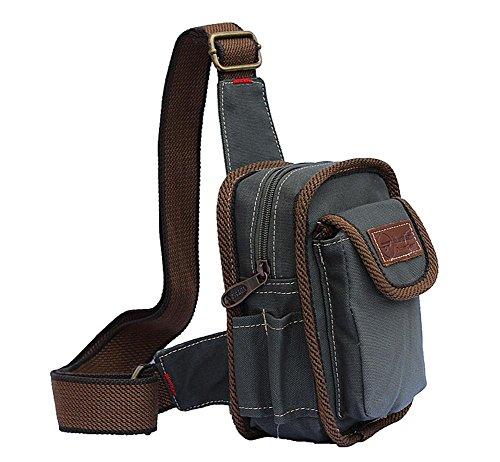 Outdoor-Freizeit Reiten Sport Leinwand Brust Pack Messenger Tasche Handtasche gray