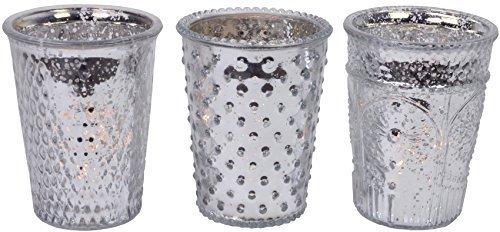 CHICCIE 3 Set Silber Kerzenhalter Teelichthalter Barock 3 Motive - 13cm Windlicht