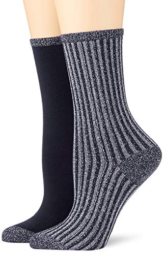 Tommy Hilfiger Damen Socken TH Women Vertical Lurex 2P, 2er Pack, Blau (Midnight Blue 563), 35/38