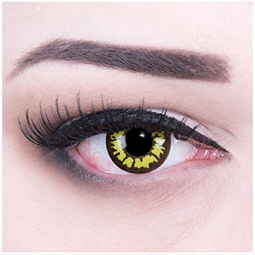 tlinsen Yellow Wolf + 4 Kunstblut Kapseln + Behälter von Funnylens, weich, ohne Stärke als 2er Pack - perfekt zu Halloween, Karneval, Fasching oder Fasnacht (Wolf Kontaktlinsen)