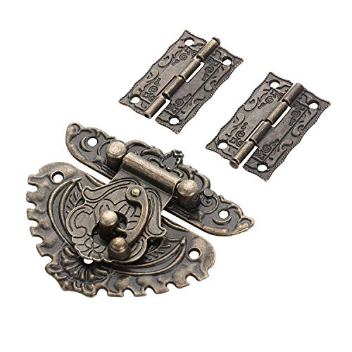 2 x Scharnier & 1 x Retro-Stil Vorhängeschloss Schloss Schlüssel Verschluss Set Box Schloss mit 13 Schrauben