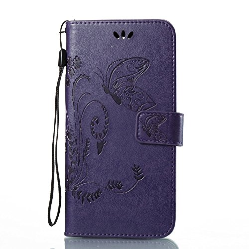 Solid Color Faux Leder Bookstyle Brieftasche Stand Case mit geprägten Blumen & Lanyard & Card Slots für LG LS777 ( Color : Red ) Purple