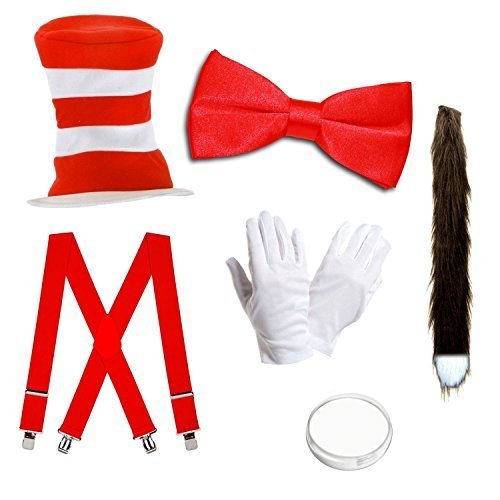 Adults Cat Hat Fancy Dress Costume - Hat, Bow Tie, Tail, Gloves, Face Paint & Braces by Robelli