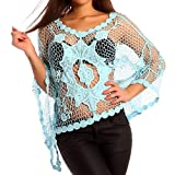 Damen Häkel Shirt Spitze Transparent Strandtop Lochmuster Fledermauärmel, Farbe:Blau;Größe:One Size