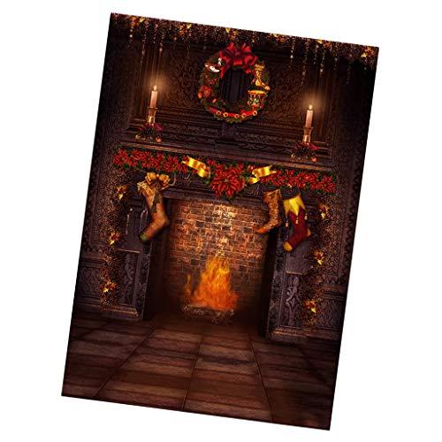 Fotografie Kulisse Leinwand Weihnachten Kamin Hintergrund Szenen Für Puppen Fotografien Zubehör - 30 * 60cm ()