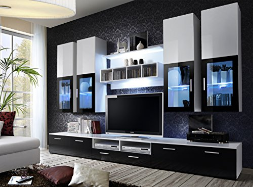 lyra bmf cm deutscher stil modern matt hochglanz entertainment wohnwand - Wohnzimmer Modern Schwarz Wei