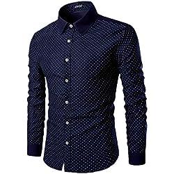 AOWOFS - Camisa Casual - Lunares - para Hombre Azul Marino M