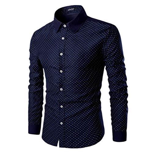 aowofs - Camisa Casual - Lunares - para Hombre Azul Marino XL