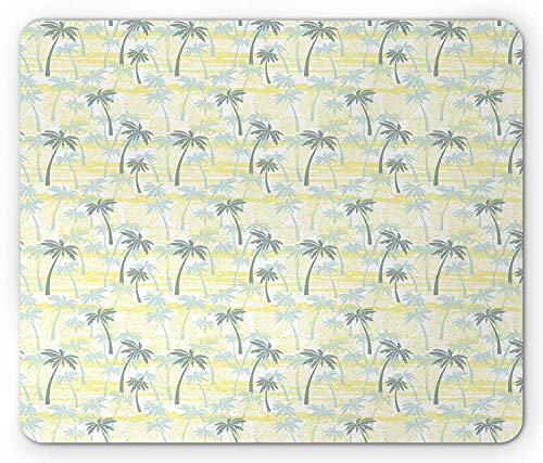 Palm Tree Mouse Pad, Sunny Summer at The Hawaii Beach Ornament in Grunge Style, Standard Size Rectangle Non-Slip Rubber Mousepad, Sage Green Mint Green and Yellow 9.8 X 11.8 inch