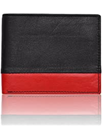 Al Fascino® Stylish Black And Red Genuine Leather Wallet/Purse For Men, Attractive Color Combo, Transparent ID...