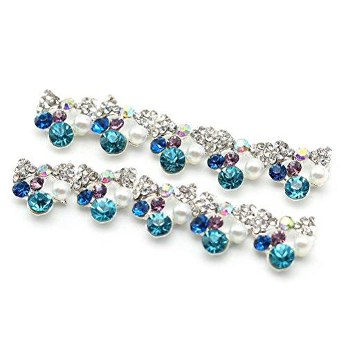 HSL 10 pcs Fashion Bling Cristal Accessoire Alliage Nail Art Manucure Forme Noeud Papillon 0.9*0.9cm Argent*Bleu