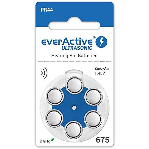 everActive 675, 6 Stück, Hörgerätebatterien, hohe Leistung, Zink-Luft-Batterien, 1 Blisterkarte, 4-jährige Haltbarkeit, blau, Ultrasonic PR44 - 675 Zink-luft