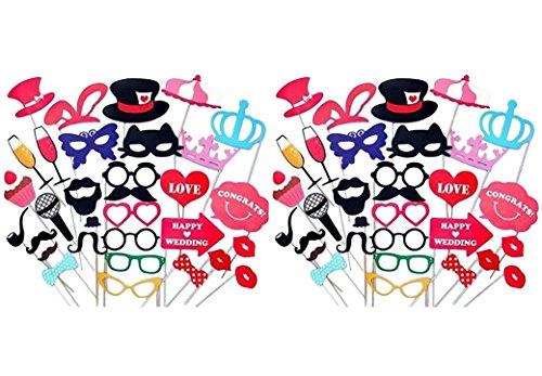 31pcs von 2 Set Photo Booth Props Fotorequisiten für witzige Bilder Fotoaccessoires Hochzeit, Geburtstag, Abschulussfeier Party, Weihnachten Brille Rahmen Kronen Fliegen Hüte Bärte Kussmünder Brille Tabakspfeife Photo Booth