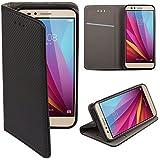 Funda Huawei Honor 5X Negro - Flip cover Smart magnética de Moozy® con Stand plegable y soporte de silicona