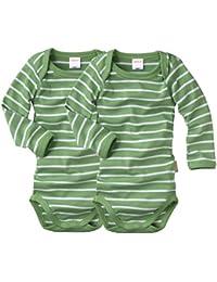 wellyou, 2er Set Kinder Baby-Body Langarm-Body, grün weiß gestreift, geringelt, für Jungen und Mädchen, Feinripp 100% Baumwolle